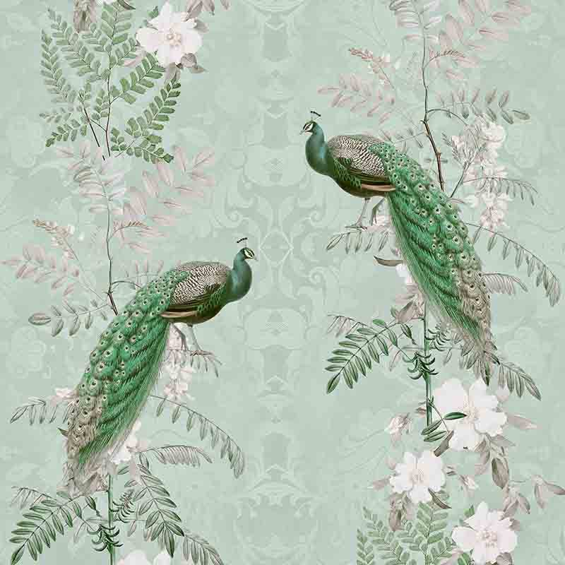 טפט Chinoiserie Peacock Flowers – Royal