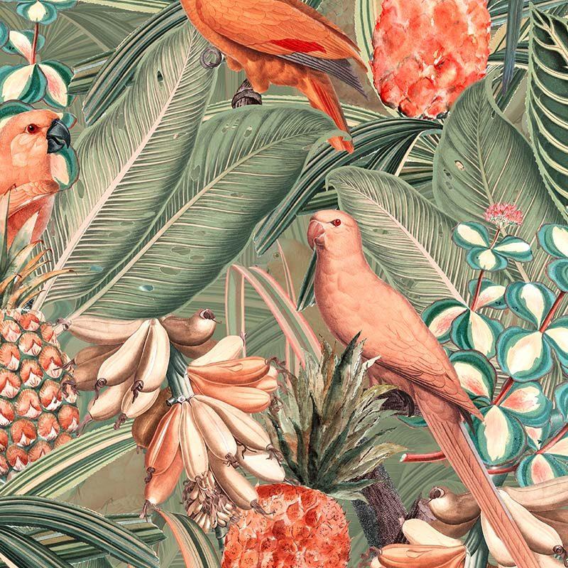 טפט Colorful Birds In Jungle Peach And Green