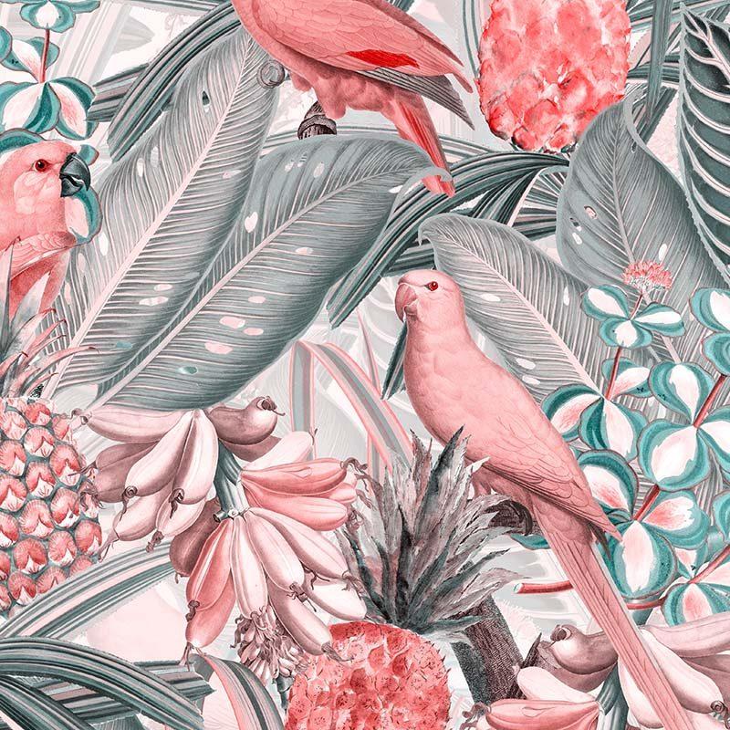 טפט Colorful Birds In Jungle Pink Grey