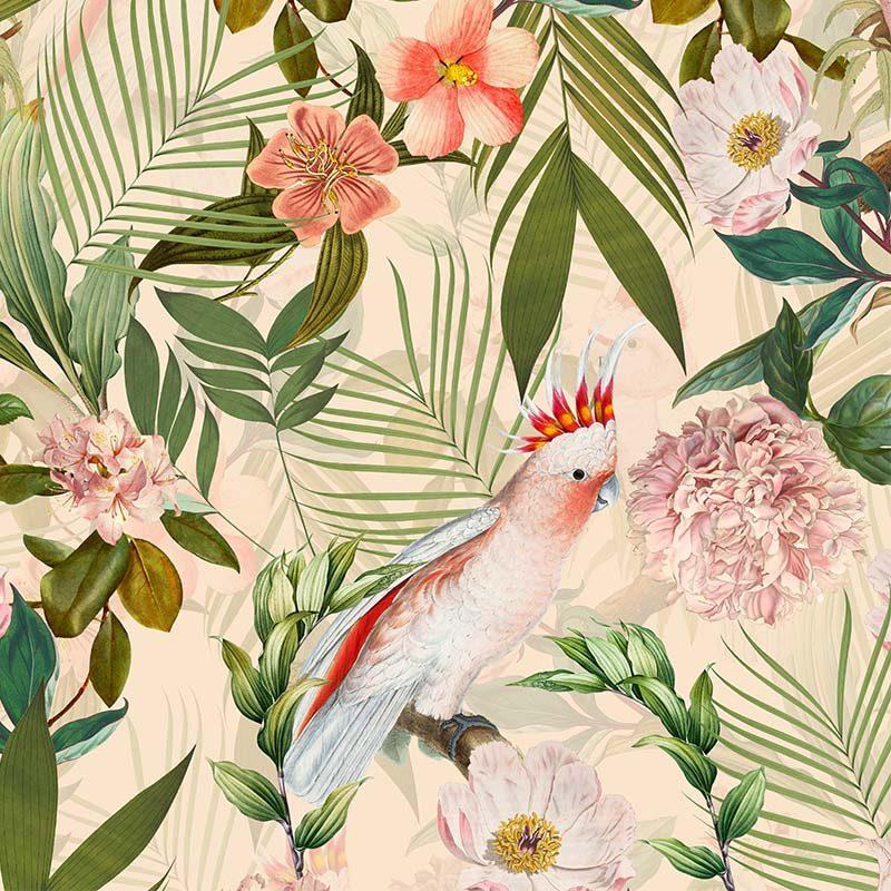 טפט Parrots And Palm Leaves