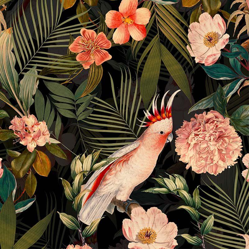 טפט Parrots And Palm Leaves Dark