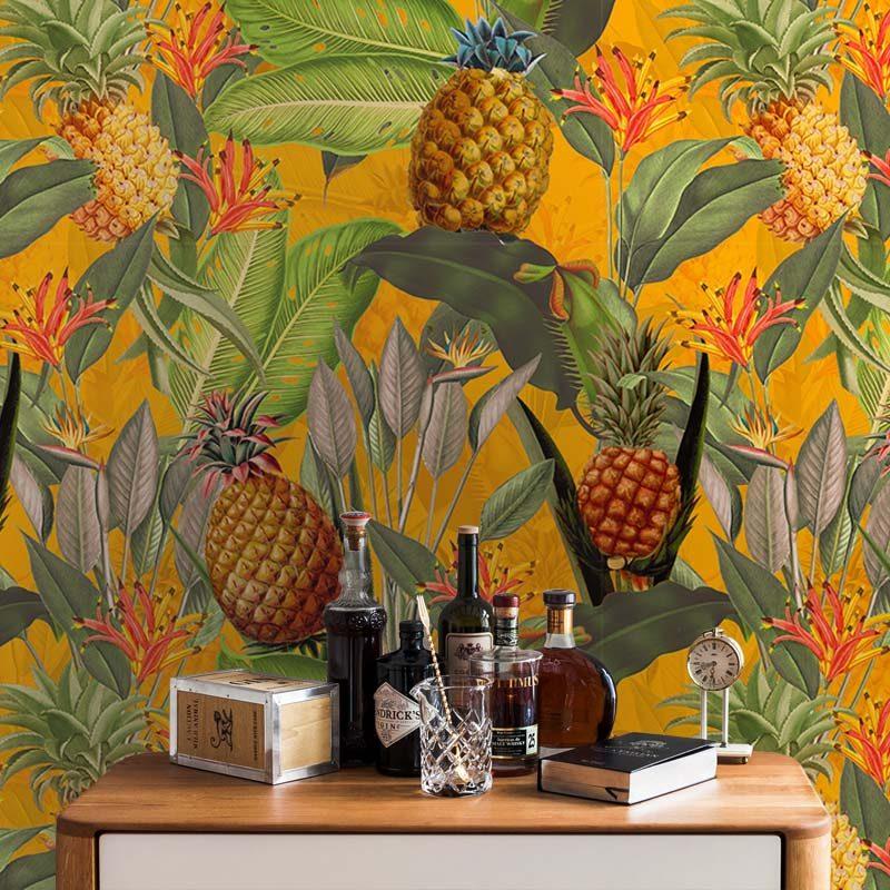 טפט Tropical Leaves Pineapples And Bananas Orange