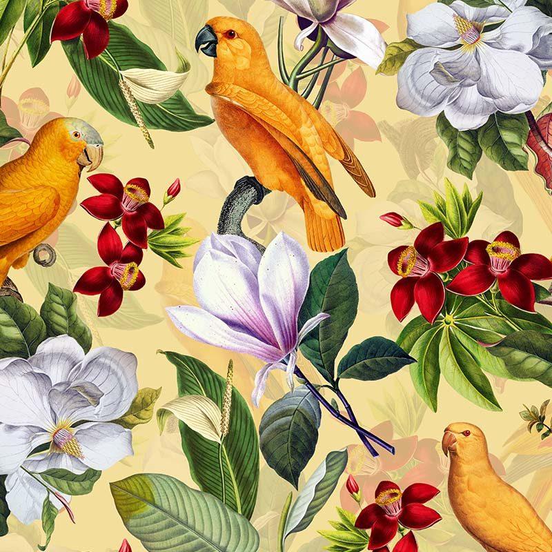 טפט Yellow Parrots In Tropical Flower Magnolia Jungle