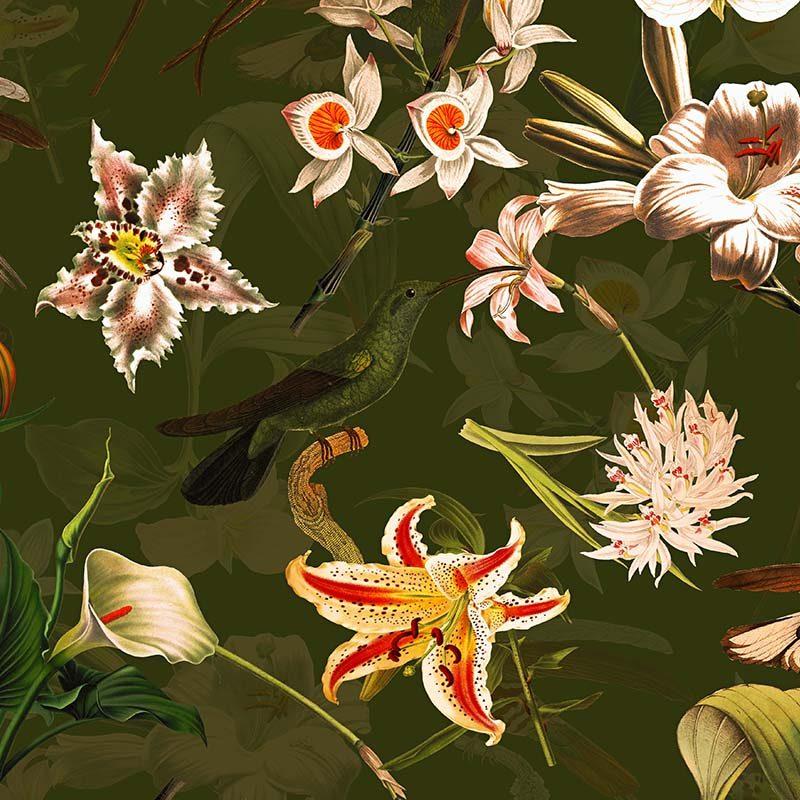 טפט Hummingbirds And Tropical Flowers Green